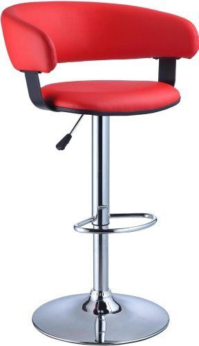 Swell Powell Red Faux Leather Barrel And Chrome Adjustable Height Inzonedesignstudio Interior Chair Design Inzonedesignstudiocom