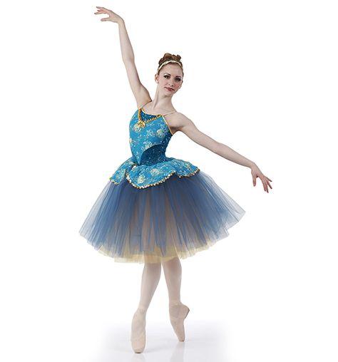 Keepsake Dance Costume Romantic Ballet Ballerina Blue and Gold Tutu Child Medium