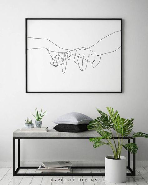 Pinky Swear Printable, One Line Drawing Print, Black White Hands Artwork, Hand Poster, Original Minimalist Couple Art, Minimal Fine Decor