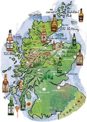 Whisky Distilleries in Scotland, mapped! | Kaarten | Pinterest