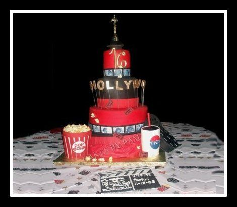 Hollywood Themed Sweet 16 Birthday Cake - Popcorn and Soda are also Cake