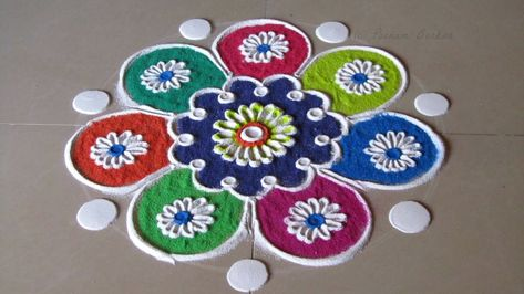 Small, quick and easy rangoli for beginners