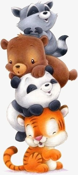 Cute Animals Png : animals, Animals, Download,, Panda,, Bear,, Raccoon, Vector, Transparent, Background, Download, Animal, Painting,, Clipart,, Drawings