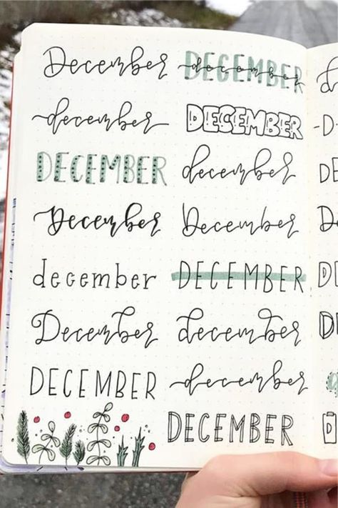 Check out these super fun DECEMBER header ideas to try in your bullet journal #bujo #bulletjournal #bulletjournalheader #bujodoodles
