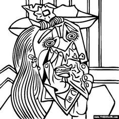 Pablo Picasso Coloring Pages Free Coloring Page Of Pablo Picasso Painting Weeping Woman With Handkerchief You Be T Picasso Coloring Picasso Art Weeping Woman