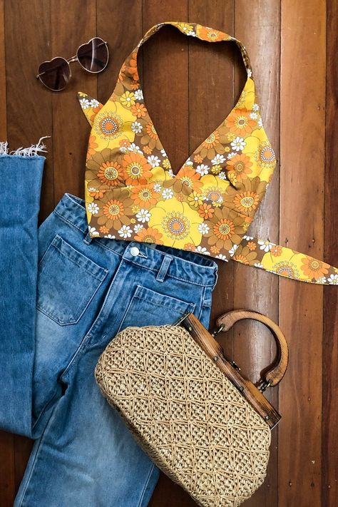 Sweet tie back cotton halter top lined with recycled fabric. We're all about slow fashion and minimizing waste here at Yesterday People so we. 70s Outfits, Boho Outfits, Vintage Outfits, Fashion Outfits, Cute Hippie Outfits, Fashion Fashion, Picnic Outfits, Rave Outfits, Fashion Sewing