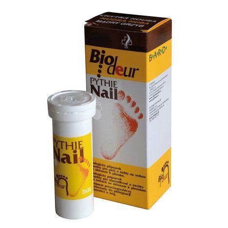 Biologický přípravek vhodný pro péči o nehty na nohou. Chytrá houba Pythie Biodeur Nail 3x 3 g. Zakoupíte v běžné lékárenské síti od 370 Kč; archiv firmy