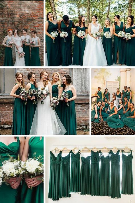dark green bridesmaid dresses is part of Emerald bridesmaid dresses -