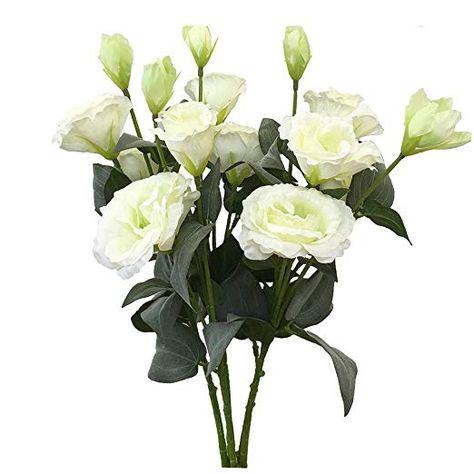 Htmeing 5 Pcs Artificial Lisianthus Flowers Silk Bellflower Bouquets