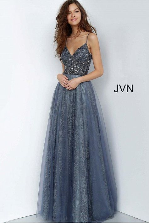 Gray Formal Dress, Grey Prom Dress, Pretty Prom Dresses, Straps Prom Dresses, V Neck Prom Dresses, Lace Dress, Formal Gowns, Long Dresses, Flapper Dresses