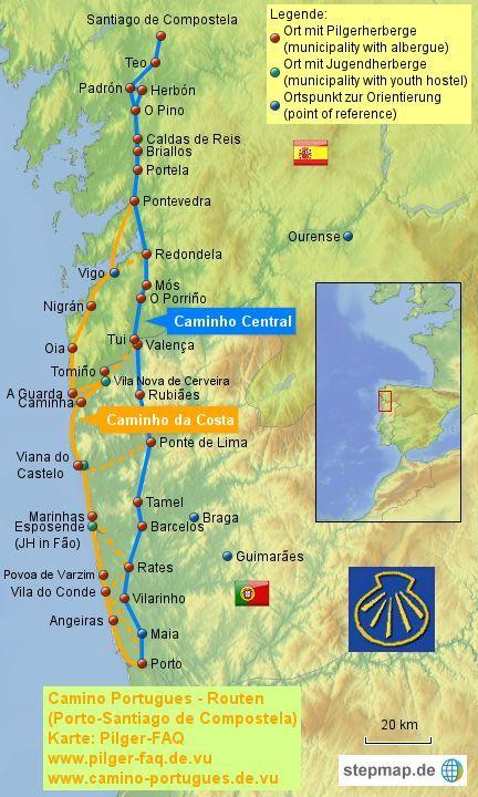 Lissabon Porto In 2020 Camino Portugues Portugal Und Landkarte