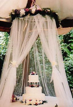 Use a netted canopy to keep bugs out of desserts and cake 32 32 totally ingenious ideas for an outdoor wedding recipes pinterest canopy cake and weddings solutioingenieria Gallery