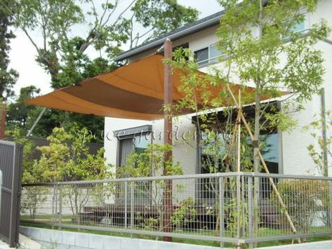 庭 タープ 柱 アイアンウッド 新築 庭 パーゴラとパティオ 庭