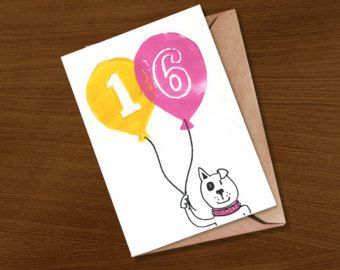 Birthday Card 16 16th Teenager Milestone