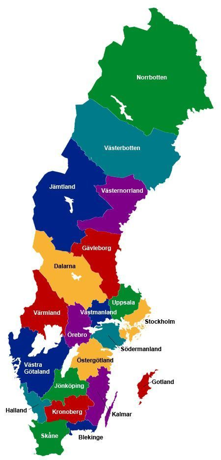 Karta Over Sveriges Lan Geografi Samhallskunskap