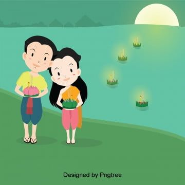 Lantern Festival Boys And Girls Put River Lights Loi Krathong Lamp Green Png And Vector With Transparent Background For Free Download In 2020 Water Lantern Festival Cartoon Boy Lanterns