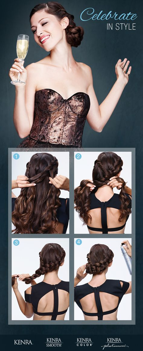 1) Starting at the part, create an inverted braid following the front hairline to one side. Use Kenra Platinum Texturizing Taffy 13 to smooth flyaways & define braid. 2) Twist the hair from the other side along the front hairline & secure them together by marrying the twist into the braid at the nape. 3) Continue the braid & secure. 4) Create a low bun by wrapping the braid around to the side & secure. Finish with Kenra Volume Spray 25.