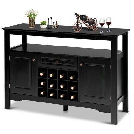 Gymax Storage Buffet Sever Cabinet Sideboard Table Wood Wine Rack Wooden Wine Cabinet Wine Storage Cabinets Wine Cabinets