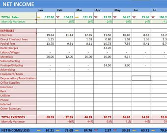 Etsy Shop Net Income Excel Template, Online Seller Year End