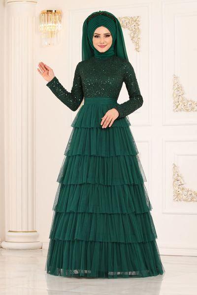 Modaselvim Abiye Etegi Kat Detayli Abiye Alm52735 Koyu Zumrut The Dress Abaya Tarzi Moda Stilleri