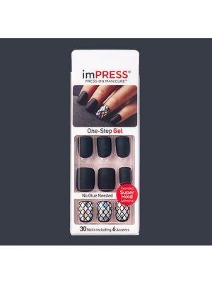 Impress Black Matte And Stained Glass Accent Nails Claim To Fame Impress Nails Kiss Press On Nails Press On Nails