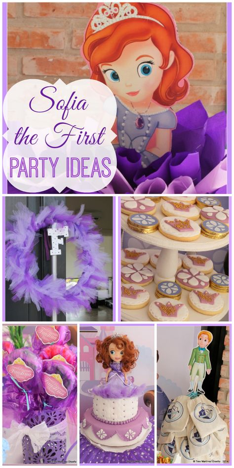A purple Sofia the First girl birthday party with toys and party decorations, plus fondant topped cookies! See more party ideas at CatchMyParty.com!
