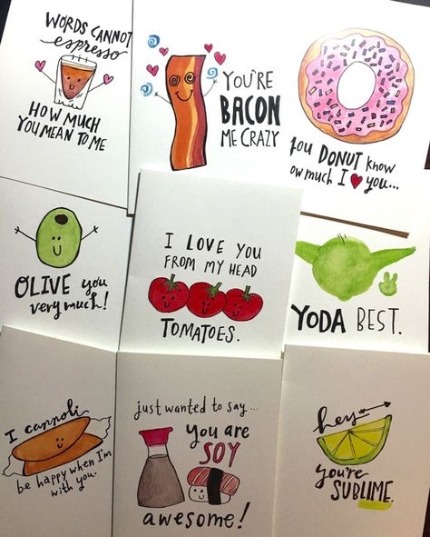 Cute and pun-ny cards that are perfect for any occasion (Valentines/Galentines Day, Birthdays, Just Because!) SET OF 9 CARDS for $25! Each card and envelope comes individually wrapped with a plastic sleeve. The entire set will be delivered in a stay flat envelope to ensure quality