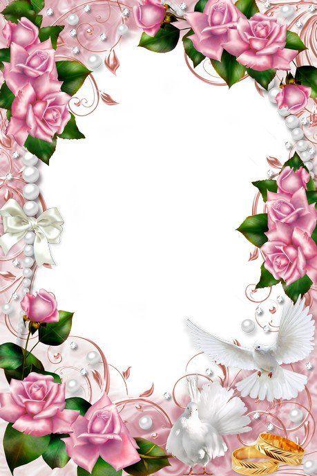 Delikatna ramka ślub z gołębiami, różowych róż i pereł