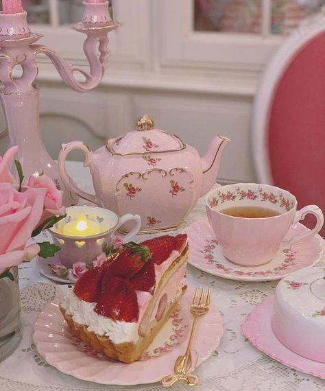 """""""See the world through rose colored glasses. Cute Desserts, Cafe Food, Aesthetic Food, Pink Aesthetic, High Tea, Tea Time, Tea Party, Sweets, Chocolate"""