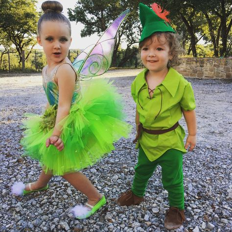 Peter Pan Costume Faux Suede Shoes Or Elf Robin Hood Peasent Brother Sister Halloween, Brother Halloween Costumes, Twin Halloween, Kids Costumes Girls, Brother Sister Costumes, Tinkerbell Costume Kids, Peter Pan Costume Kids, Sibling Costume, Tinker Bell Costume