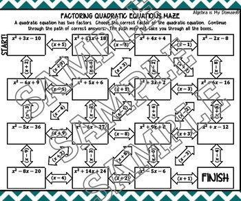 ACTIVITY MAZE INB - Algebra - Factoring Quadratics | Algebra