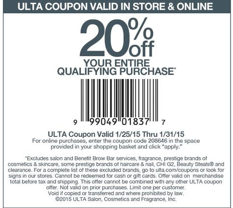 Pinned January 25th 20 off at #Ulta, or online via promo code - coupon disclaimer examples