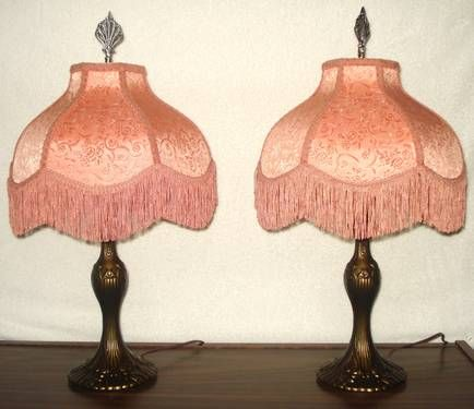 2 Vintage Table Lamps with Victorian Lamp Shades with Fringe