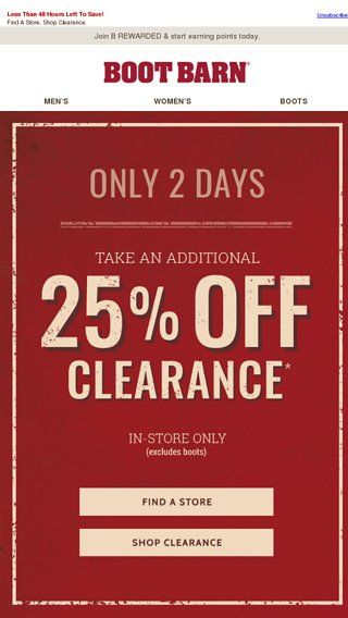 ae55023bc61 2 DAYS ONLY - Clearance Sale! - Boot Barn Email Archive | On Sale ...