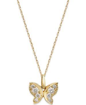 Cubic Zirconia Butterfly Pendant Necklace In 10k Gold Gold Butterfly Pendant Necklace Gold Jewelry Necklace Flower Pendant Necklace