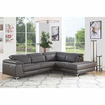 Prise Grey Top Grain Leather Power Reclining Right Hand Facing Sectional Power Recliners Sectional Italian Leather Sectional Sofa
