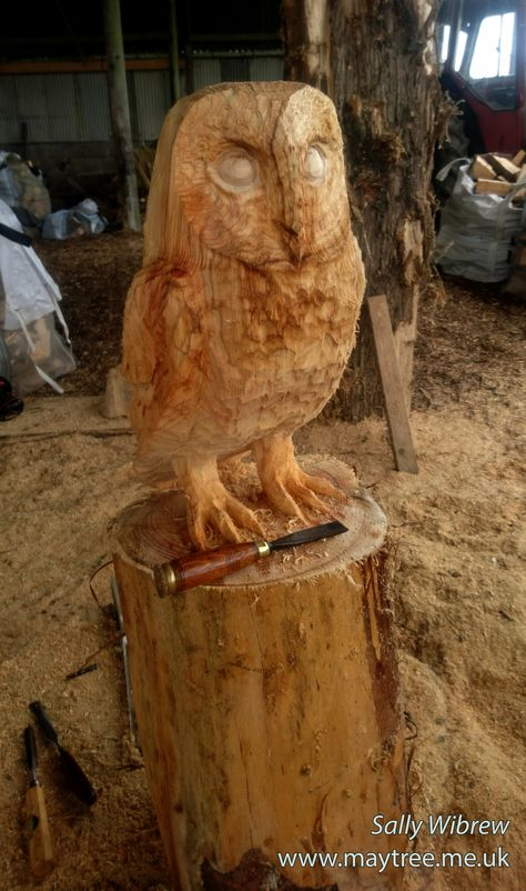 Carving the eyes on this barn owl chainsawcarving woodworking