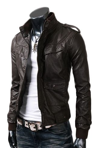 Black Slim-fit Faux Leather and Genuine Leather Jacket