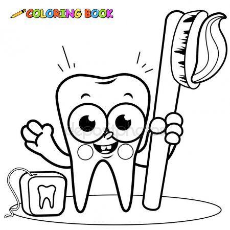 Personagem De Desenho Animado Segurando A Escova De Dentes E Fio