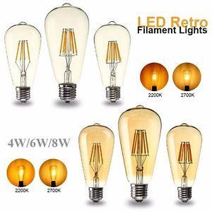 A Dimmable E27 St64 Cob Led Bombilla 4w 6w 8w Edison Retro Vintage Filament Light Bombillas