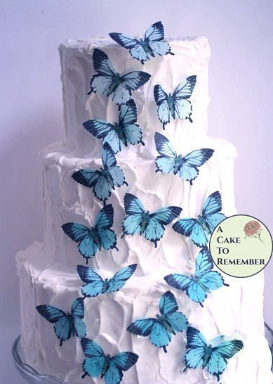 15 Teal Blue Edible Butterflies 2 Wide Butterfly Cake Decorations Wedding Cake Decorations Edible Butterfly