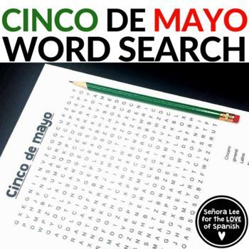 Cinco De Mayo Word Search Fun Activity To Learn 15 Key Vocabulary Words Related To T Middle School Spanish Lessons Spanish Teacher Resources Spanish Students