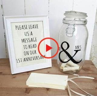 Mr. and Mrs. vinyl decal for wedding decor. Wedding decals. Wedding Message Jar decal. #weddingdecorations #weddinghairstyles