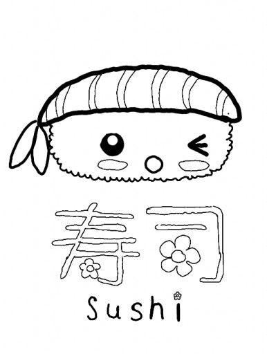 Sushi Kawaii Food Coloring Pages Coloring Pages For Girls Cute Coloring Pages Coloring Pages