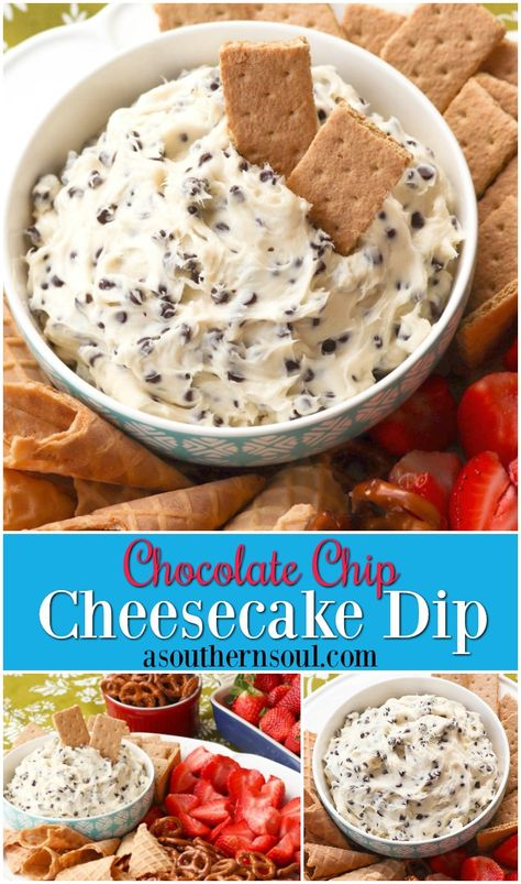 Chocolate Chip Cheesecake Dip Chocolate Chips mixed with cream cheese, sugar and vanilla create a dip that tastes like a slice of bakery cheesecake! Serve with fresh fruit, pretzels, and cookies for a sweet treat everyone will love. Cream Cheese Desserts, Cream Cheese Dips, Recipe With Cream Cheese And Chocolate Chips, Dessert Dips, Dessert Recipes, Dessert Cheese Ball, Quick Dessert, Party Desserts, Chip Dip Recipes