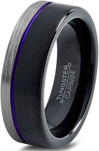 Chroma Color Collection Tungsten Wedding Band Ring 6mm For Men