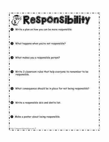 Responsibility Worksheet | Responsiblity | Responsibility lessons ...