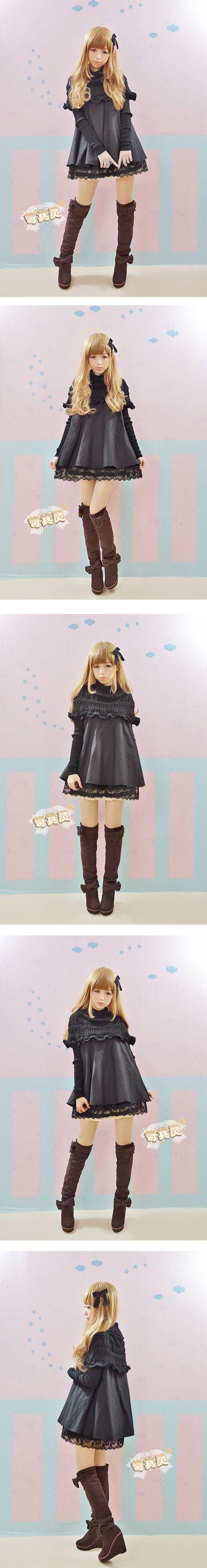 Suéter de la capa doble cuello de encaje negro mullido muñeca vestido del remiendo de una sola pieza del vestido lolita dulce envío gratis en Vestidos de Moda y Complementos Mujer en AliExpress.com | Alibaba Group