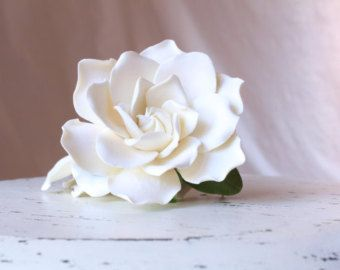Hair clip polymer clay flower for wedding. Ivory gardenia  on alligator clip