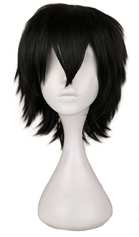 Qqxcaiw Black Short Hair Cosplay Wig Male Party 30 Cm High Temperature Fiber Synthetic Hair Wigs Wig Hairstyles Short Straight Hair Straight Hairstyles